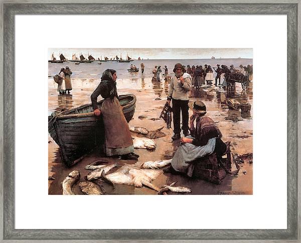 A Fish Sale On A Cornish Beach Framed Print