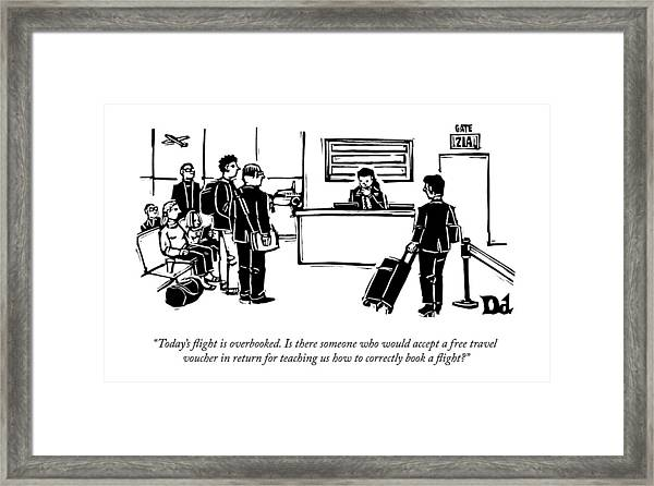 A Flight Receptionist Announces To Travelers Framed Print
