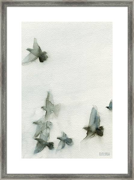 A Flock Of Pigeons 1 Watercolor Painting Of Birds Framed Print by Beverly Brown