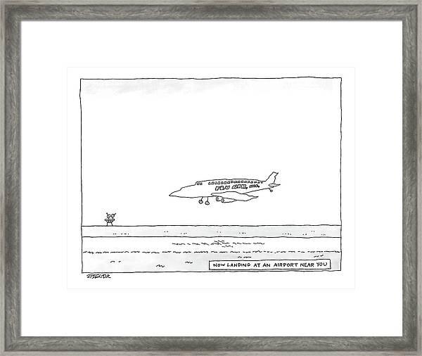 A Flu Air. Inc. Plane Is Landing. Beneath Reads Framed Print