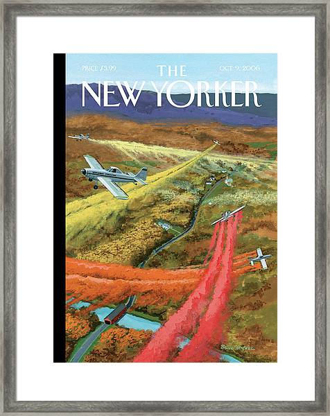 A Flying Vermont Tourism Prop Plane Oversees Framed Print
