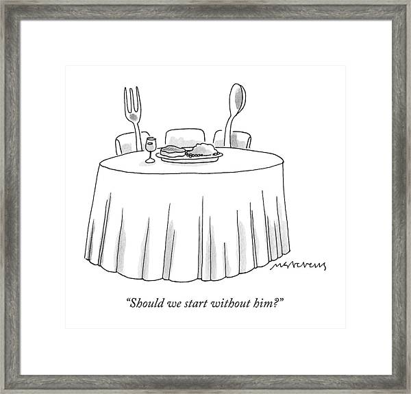A Fork And A Spoon Sit At A Dinner Table Framed Print