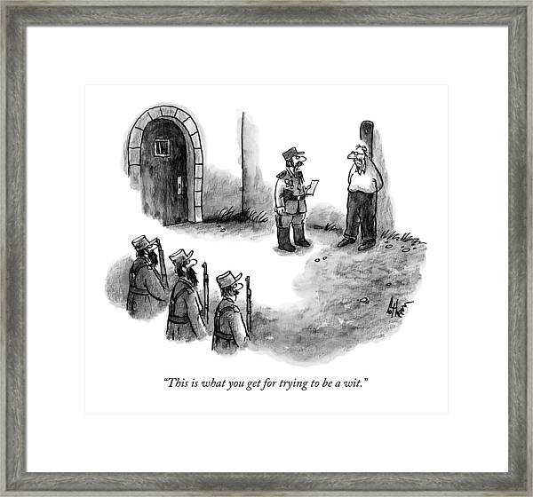 A General Scolds The Target Of A Firing Squad Framed Print