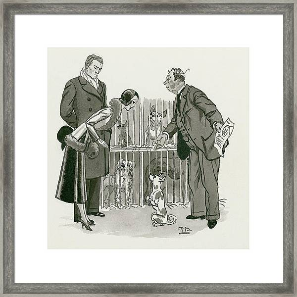 A Gentleman Selling Dogs Framed Print