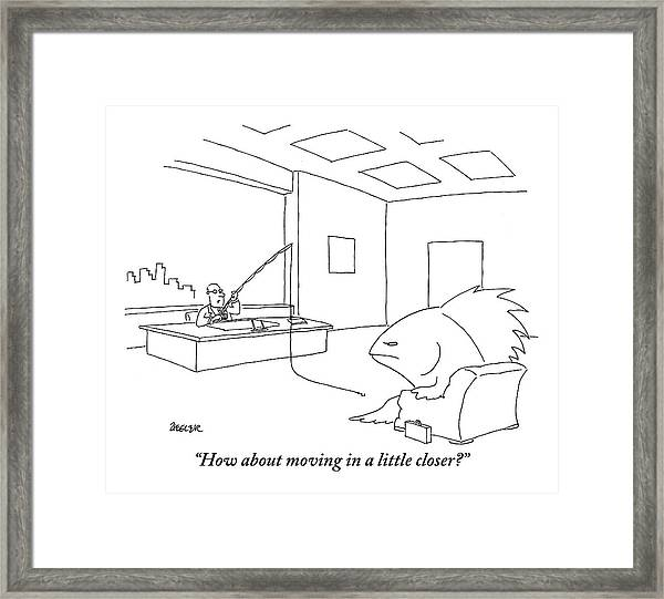 A Giant, Disgruntled-looking Fish Sits Framed Print