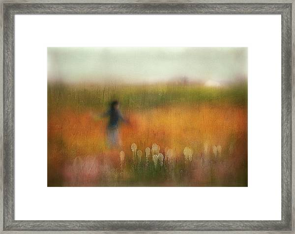 A Girl And Bear Grass Framed Print