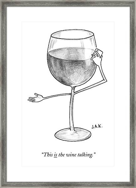 A Glass Of Red Wine Speaks On The Phone Framed Print