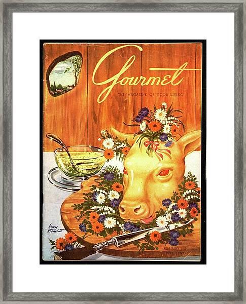 A Gourmet Cover Of Tete De Veau Framed Print