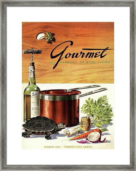A Gourmet Cover Of Turtle Soup Ingredients Framed Print