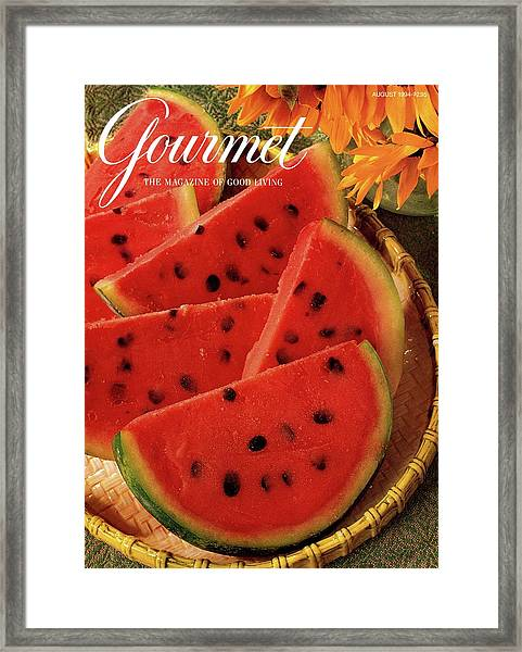 A Gourmet Cover Of Watermelon Sorbet Framed Print
