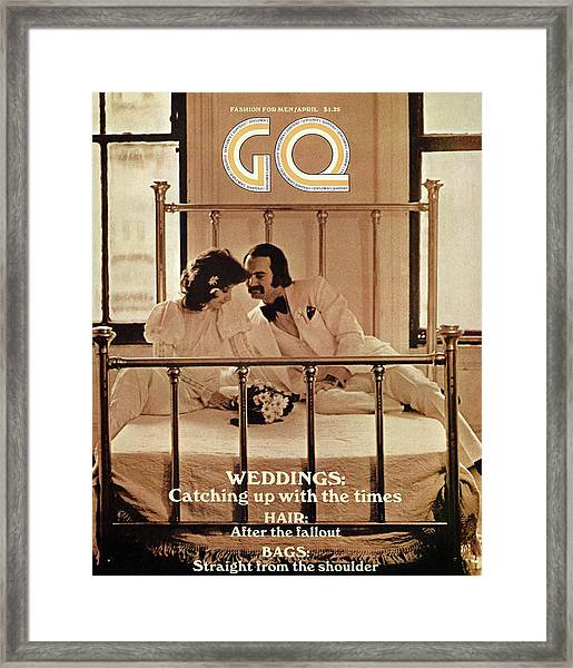 A Gq Cover Of A Bridal Couple Framed Print by Arthur Elgort