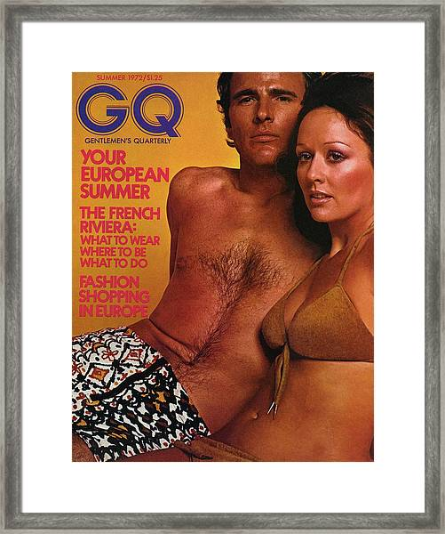 A Gq Cover Of A Couple In Bathing Suits Framed Print