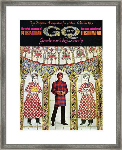A Gq Cover Of A Model With A Persian Mosaic Framed Print