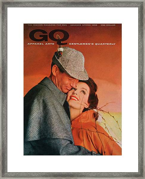 A Gq Cover Of Male And Female Models Framed Print by Emme Gene Hall