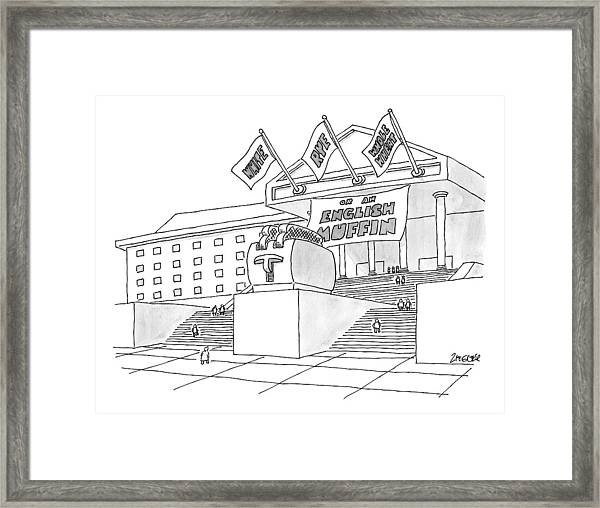 A Grand Institution With A Large Toaster Statue Framed Print