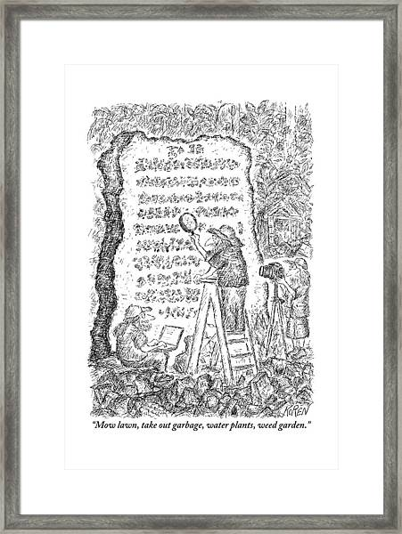 A Group Of Archaeologists Decipher A Large Framed Print