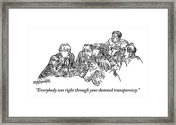 A Group Of Drinking And Smoking Men Gather Framed Print