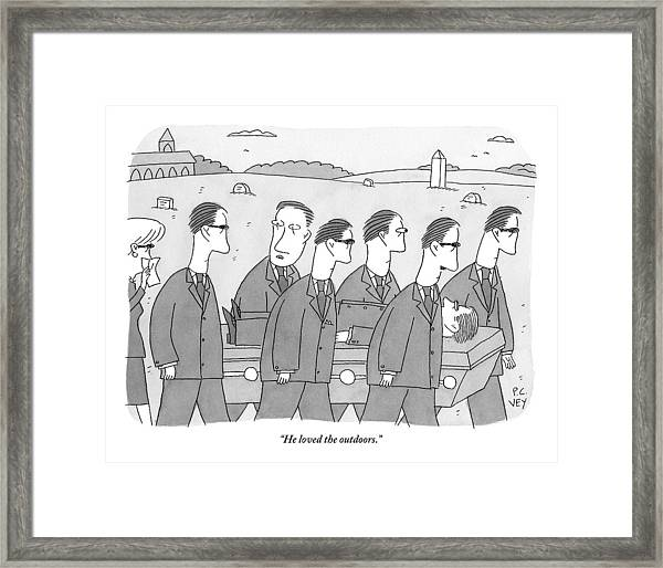 A Group Of Mourners At A Funeral Are Carrying Framed Print