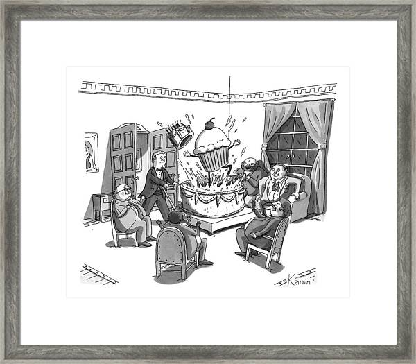 A Group Of Overweight Gentlemen Are Sitting Framed Print