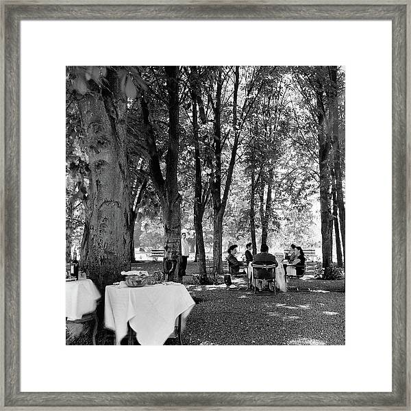 A Group Of People Eating Lunch Under Trees Framed Print