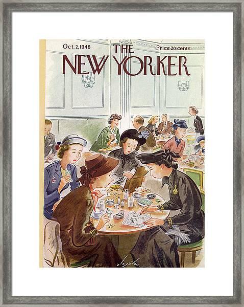 A Group Of Women Review A Dinner Receipt Framed Print