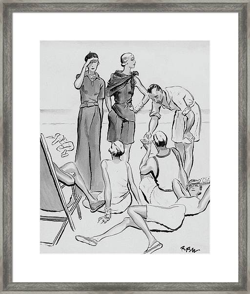 A Group Of Young People On The Lido Beach Framed Print