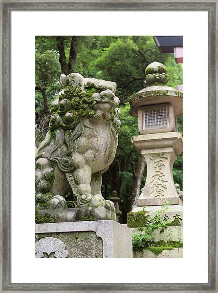 A Guardian Stone Lion Traditional Stone Framed Print by Paul Dymond
