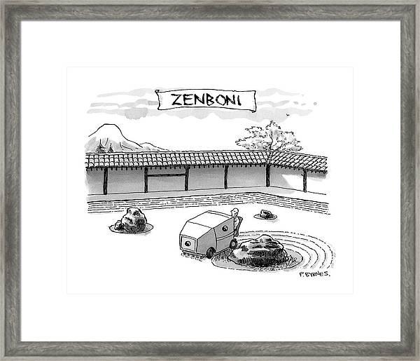 A Guy Is Driving Around A Zen Garden Making Framed Print
