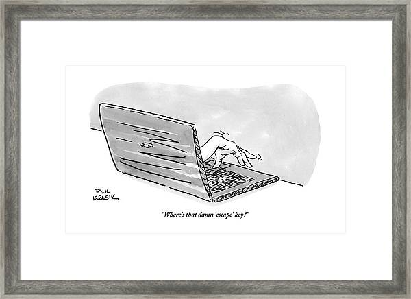 A Hand Reaches Out From Laptop Screen Framed Print