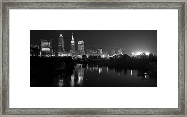 A Hazy Cleveland Night At Progressive Field Framed Print