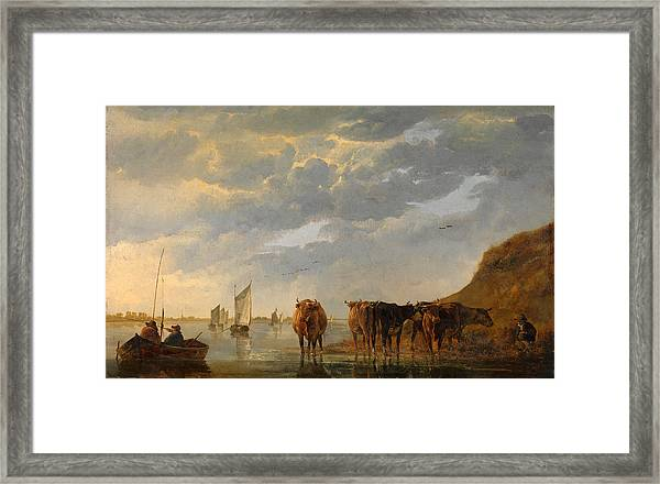 A Herdsman With Five Cows By A River Framed Print