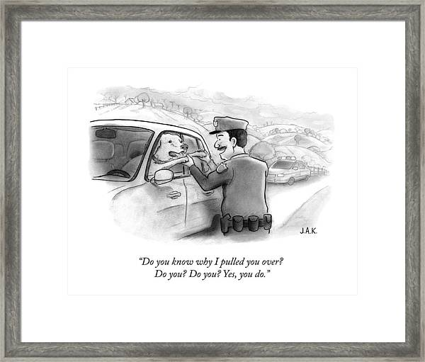 A Highway Police Officer Pulls Over And Plays Framed Print