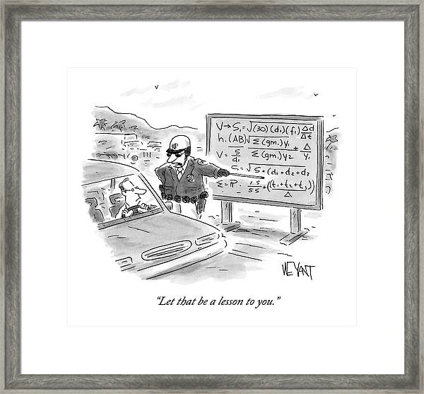 A Highway Traffic Cop Stops A Drive Framed Print
