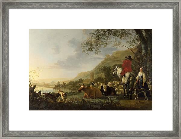 A Hilly Landscape With Figures Framed Print