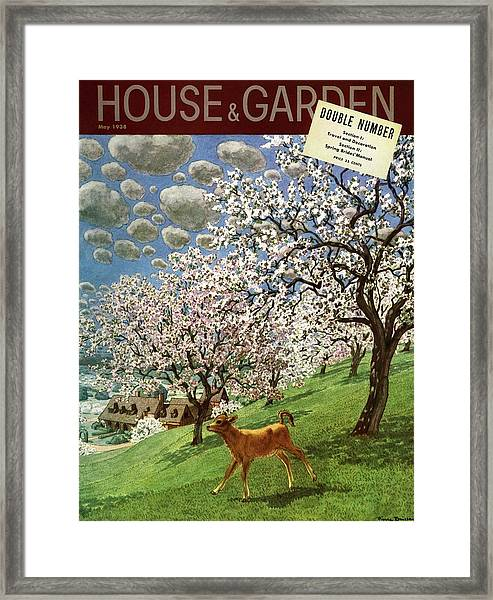 A House And Garden Cover Of A Calf Framed Print