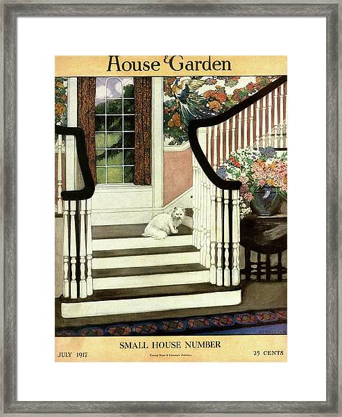 A House And Garden Cover Of A Cat On A Staircase Framed Print