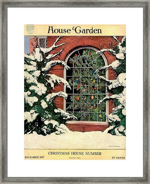 A House And Garden Cover Of A Christmas Tree Framed Print