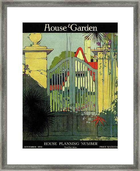A House And Garden Cover Of A Gate Framed Print