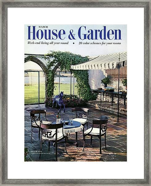 A House And Garden Cover Of A Terrace In East Framed Print