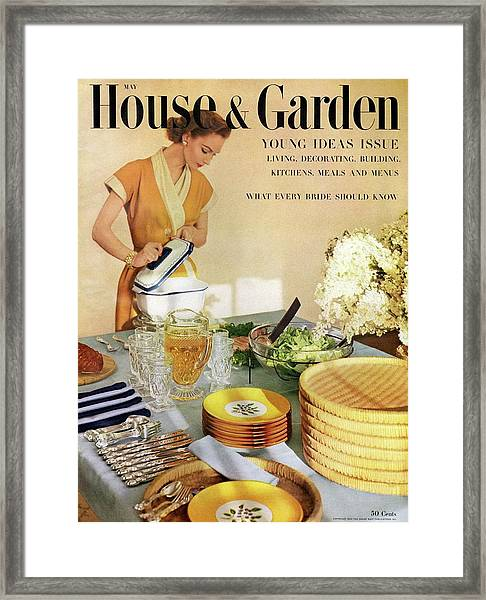 A House And Garden Cover Of A Woman With A Set Framed Print