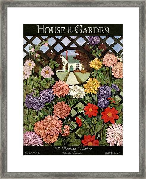 A House And Garden Cover Of Flowers Framed Print