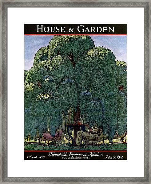 A House And Garden Cover Of People Dining Framed Print
