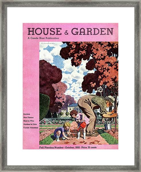 A House And Garden Cover Of People Gardening Framed Print