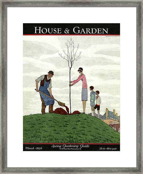 A House And Garden Cover Of People Planting Framed Print