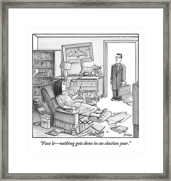 A Husband Walks Into A Trashed Room Framed Print