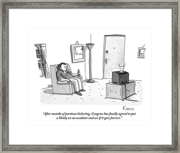 A Jaded-looking Man Sits In His Living Room Framed Print