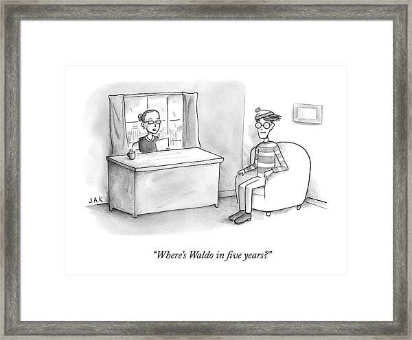A Job Interviewer Asks Waldo Framed Print