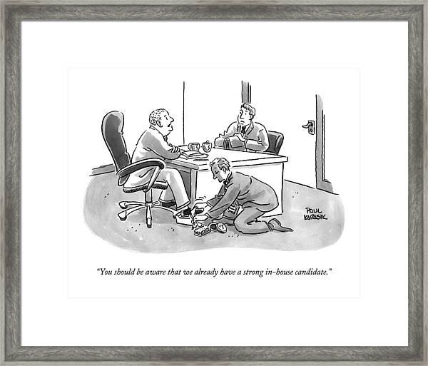 A Job Interviewer Tells An Interviewee Framed Print