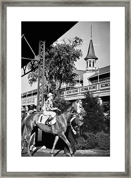A Jockey And Horse Framed Print by Remie Lohse