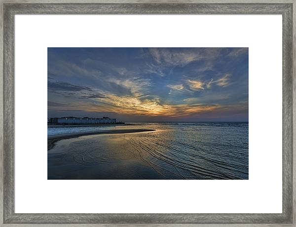 a joyful sunset at Tel Aviv port Framed Print